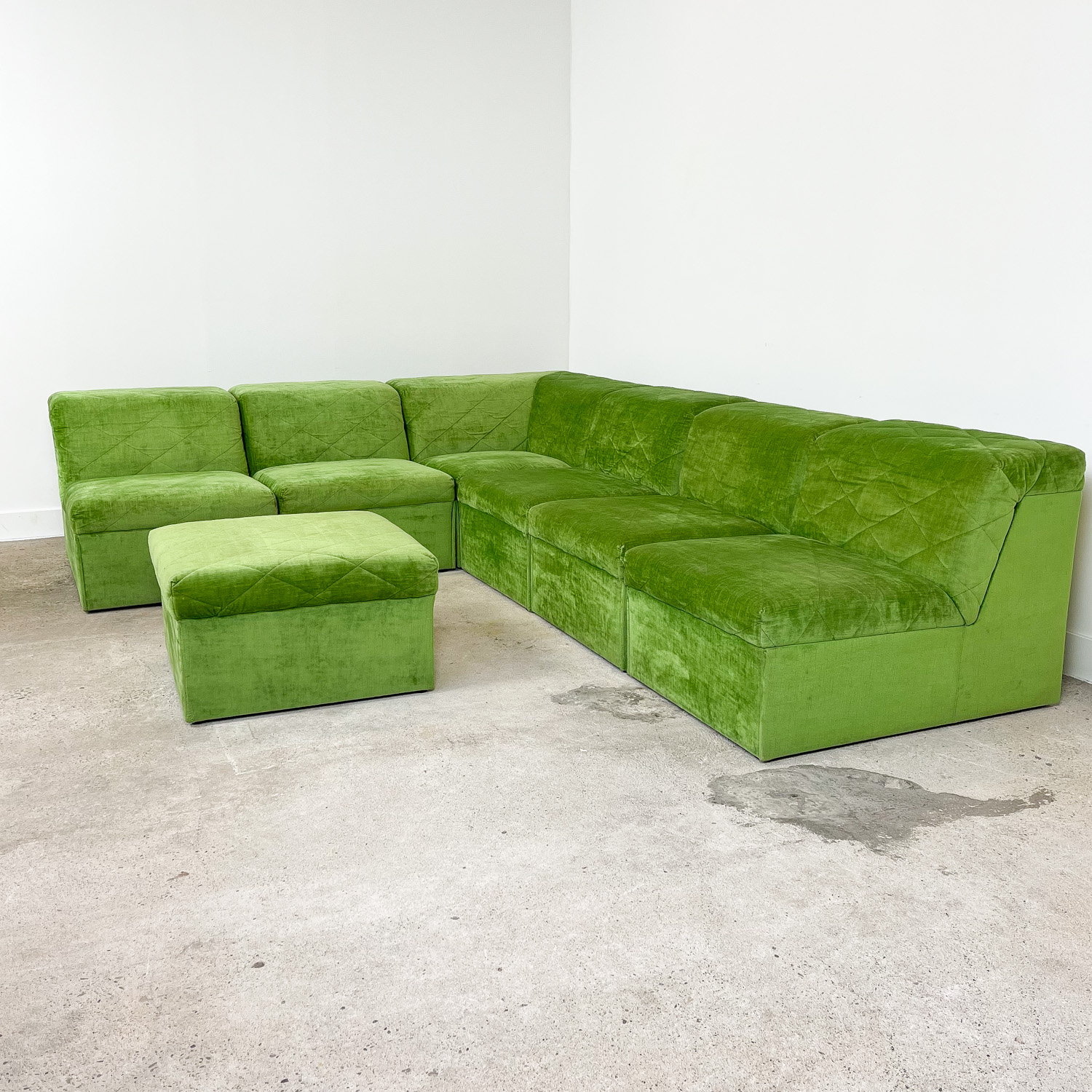 Vintage elemental sofa by Laauser light green velvet