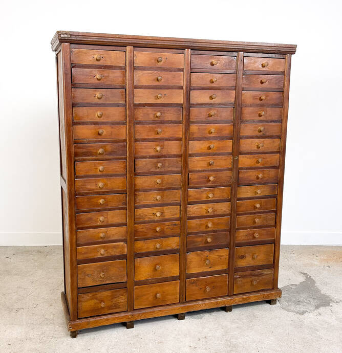 Tall industrial wooden bank of drawers hardware factory A