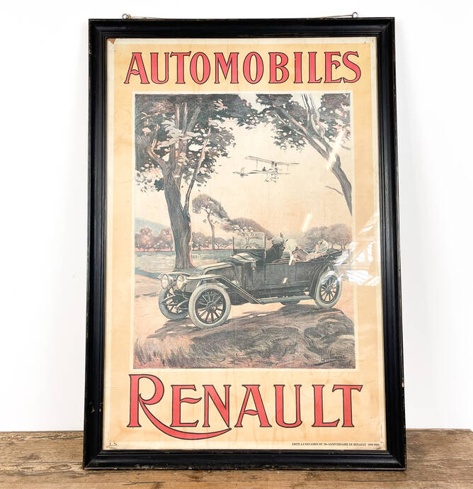 Vintage belgium car poster Automobiles Renault 70th birthday