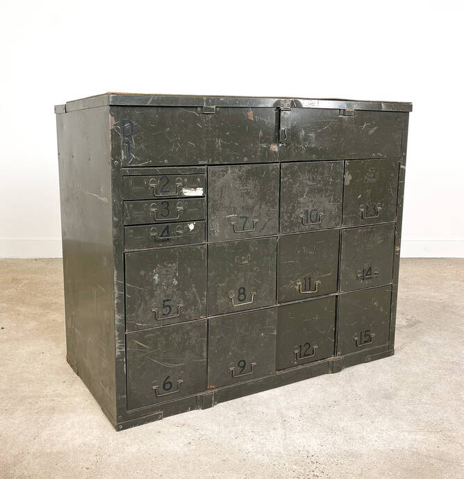 Industrial metal chest of drawers army green