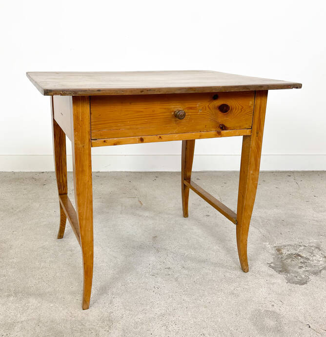 Antique elm wooden side table with drawer