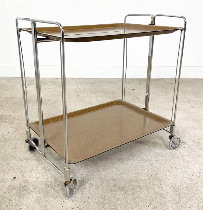Vintage foldable serving trolley