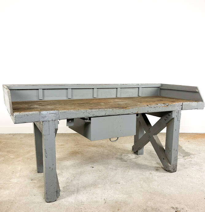 Antique industrial grey wooden workbench with drawer