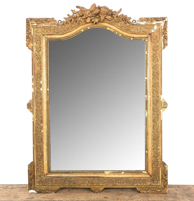 French antique Napoleon III gilt mirror