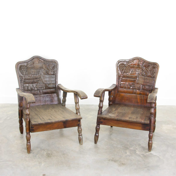 2741 Asian wooden armchairs